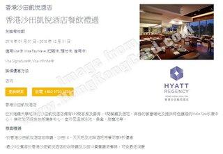 香港沙田凱悅酒店餐飲禮遇